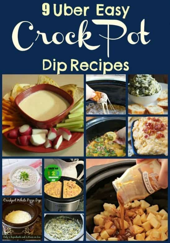 9 Uber Easy Crock Pot Dip Recipes. Find this and more slow cooker recipes at https://www.slowcookerkitchen.com