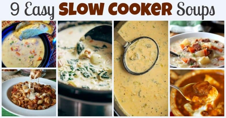 9 Easy Slow Cooker Soups. Find this & more @ https://www.slowcookerkitchen.com
