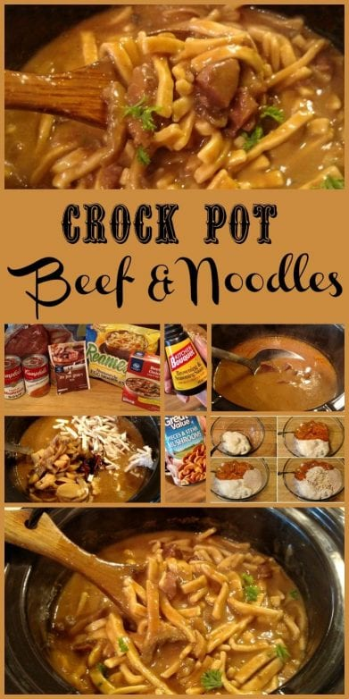 Crock Pot Beef & Noodles. Find this and more deliciousness @ https://www.slowcookerkitchen.com