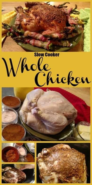 Whole Chicken Slow Cooker Recipe. Find this & more yummy recipes @ https://www.slowcookerkitchen.com