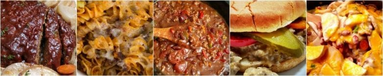Ground Beef Crock Pot Recipes Collage for Freezer Meals