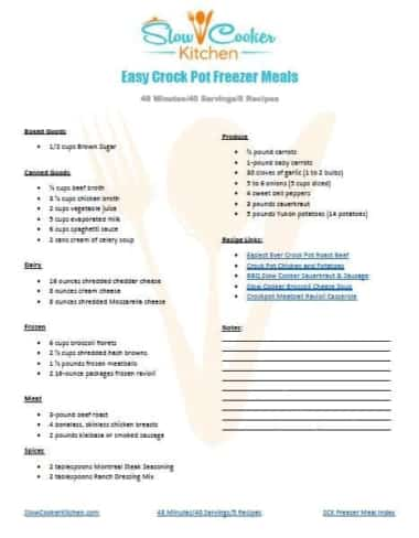 Grocery List for Easy Crock Pot Freezer Meals Printable