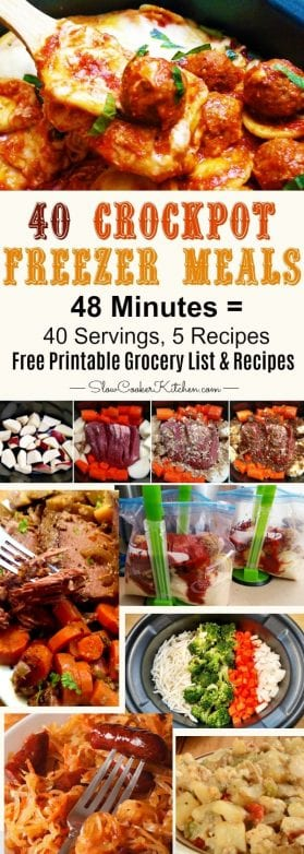 40 Meals/5 Recipes/48 Minutes Easy Crock Pot Freezer Meals Cooking Session