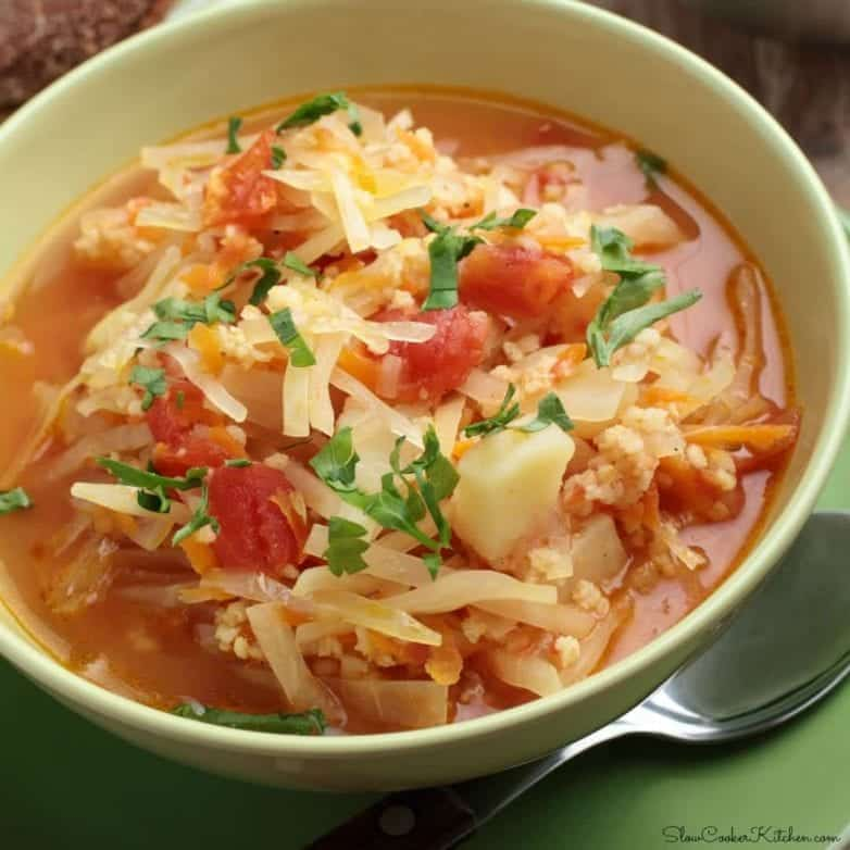 Slow Cooker Polish Sauerkraut Soup can be made with any sort of leftover pork meats