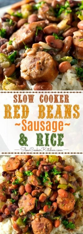 Slow Cooker Red Beans Rice and Sausage