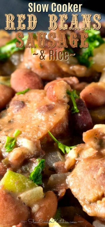 Slow cooker red beans and rice with sausage and ham