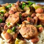 Close up of slow cooker red beans and rice with sausage