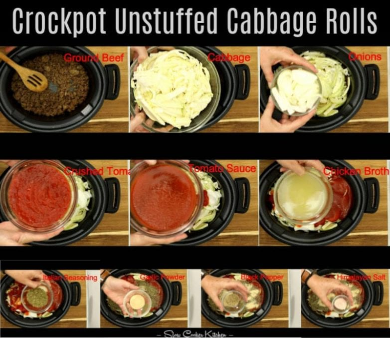 step by step description for making unstuffed cabbage casserole