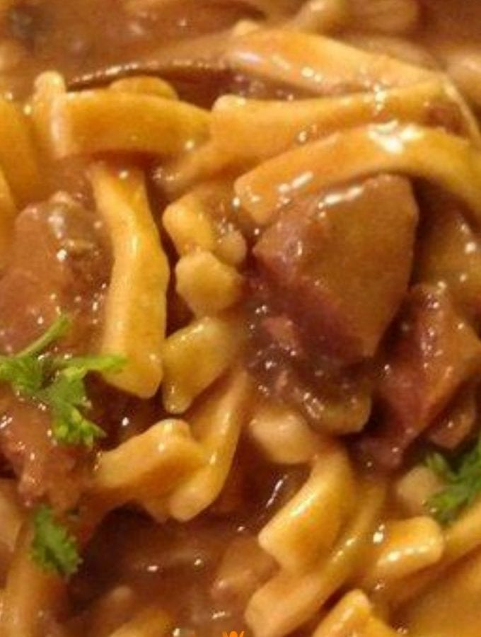 homemade slow cooker beef and noodles